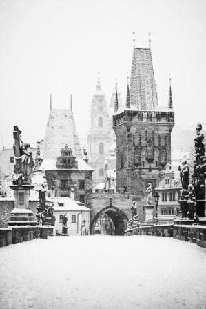 go2prague.com Charles Bridge, Prague. Monochromatic winter time
