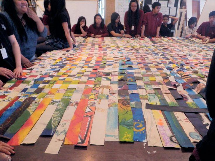 Mary Ward art students making a traditional banig as part of K mobile program, #FilipinoArt, #ArtStudents, #Filipino