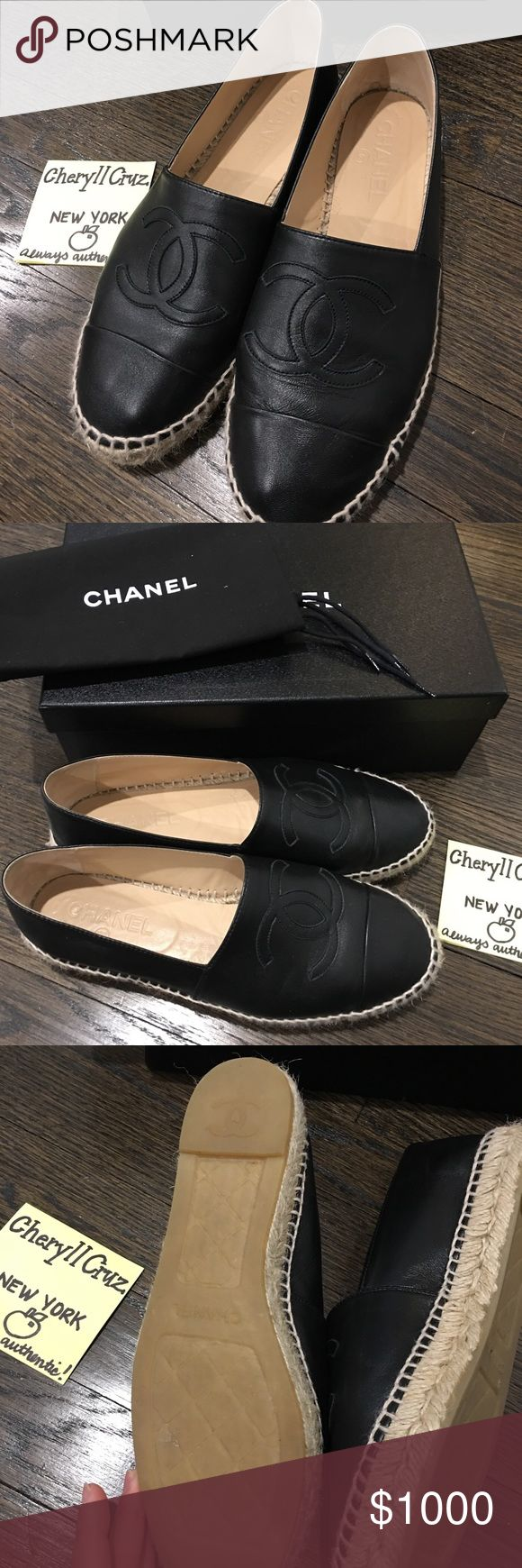 authentic chanel espadrilles 39 eu these are authentic chanel black espadrilles in very excellent used condition