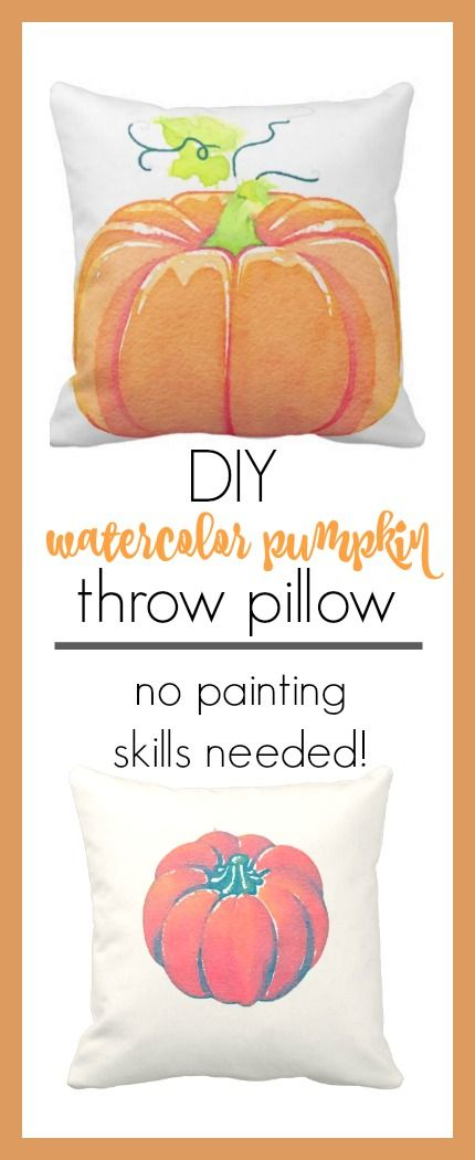 These watercolor pumpkin pillows are the perfect accent to your fall decor. Using $3 pillow covers and an easy transfer method, you can make them! I love cheap and cheerful projects like this!