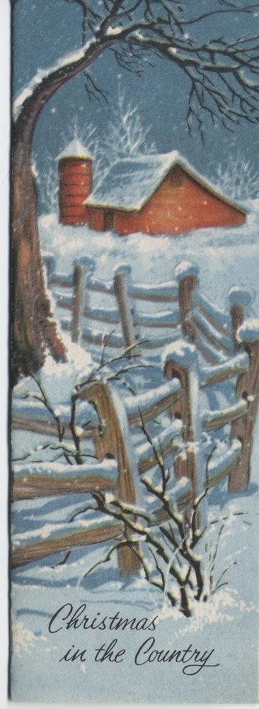 vintage Christmas card farm country winter scene snow fence silo 6 X 2 red barn