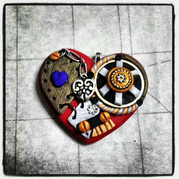 #Polymer #Clay #Steampunk #Heart Pendant made by Caryn ~ #Skullaby