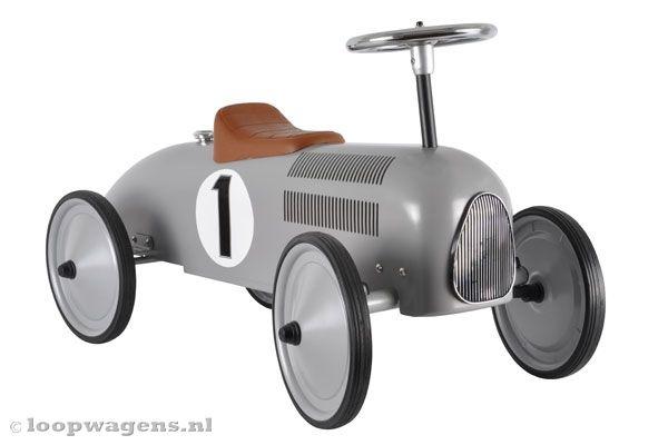 Retro Racer zilvergrijs