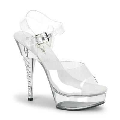 Diamond-608 wit- burlesque hakken schoen met doorzichtig enkelbandje en strass…