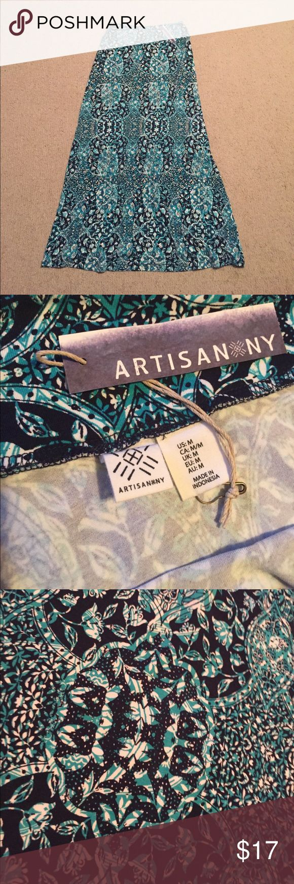"""Maxi Skirt Navy and turquoise maxi skirt in soft stretch fabric. Measures 14"""" across waist.  42"""" long. Artisan Ny Skirts Maxi"""