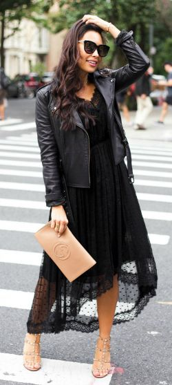 Kat Tanita + absolutely stunning + sheer lace dress + leather jacket + sandals + glamorous evening look + neutral accessories + aesthetic!   Dress: Zimmermann, Jacket: Banana Republic, Sandals: Valentino, Clutch: Gucci.