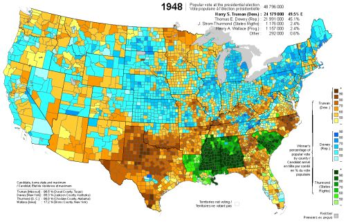 US presidential election results by county, 1948. [[MORE]]The United States presidential election of 1948 was the 41st quadrennial presidential election, held on Tuesday, November 2, 1948. Incumbent President Harry S. Truman, the Democratic nominee,...