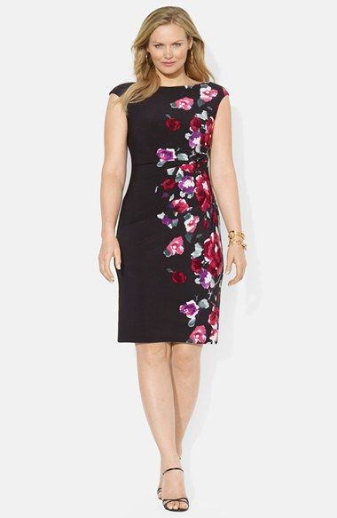 Lauren Ralph Lauren Floral Print Side Pleat Jersey Sheath (Plus Size) available at #Nordstrom