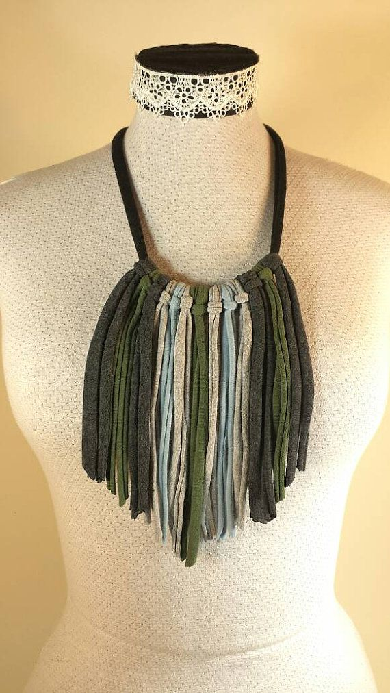 Check out this item in my Etsy shop https://www.etsy.com/ca/listing/286436547/fringe-recycled-tshirt-necklace