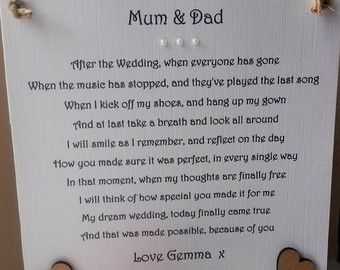 Thank you Mum and Dad Wedding gift personalised by AandFCrafts