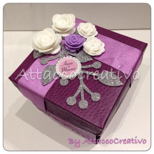 Tema: 25 Anni di matrimonio.Explosion box, In totale la scatola contiene 20 foto, più diversi spazi liberi per poter lasciare dei commenti o messaggi.