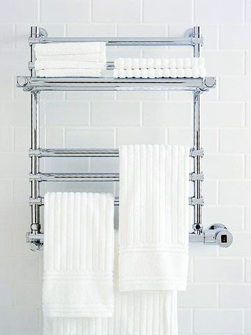 Yet another cozy idea: Hang your towels from heated bars so you can wrap your entire body in warm terry cloth when you finish with your shower or bath.