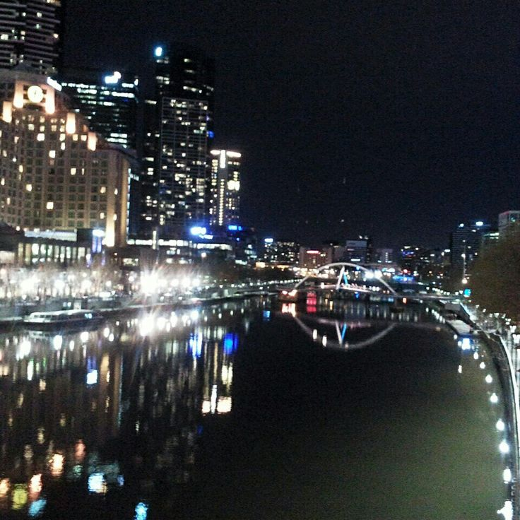City at night along the Yarra river, Melbourne Australia
