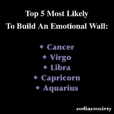 Top 5 Most Likely  To Build An Emotional Wall - Top of the list - Cancer!