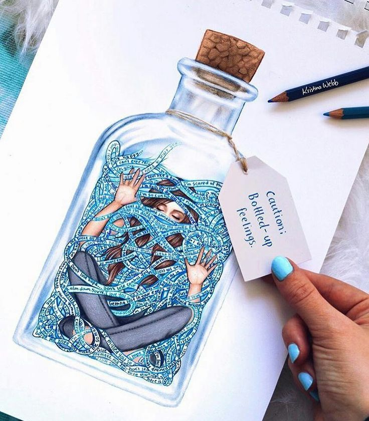 Bottled up feelings drawing by kristinawebbart