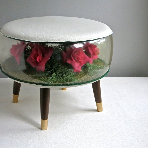 Inflatable Terrarium Foot Stool Ottoman with Red Faux Flowers, 1969 Kitsch Decor Plastic on Etsy, $195.00