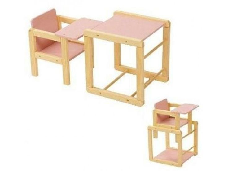 Heeft u ook een poppenmoedertje of poppenvadertje in huis? Dan is dit cadeau gegarandeerd een succes. De pop kan nu niet alleen gezellig mee eten aan tafel. U kunt de stoel ook in een handomdraai omtoveren tot een aparte poppenstoel en poppentafel. Zo kan uw kindje naast de pop eten te geven ook samen aan tafel tekenen, een puzzel maken en nog veel meer. De poppenstoel is gemaakt van naturel gelakt hout met roze accenten. Afmetingen in elkaar: Lengte 29cm x Breedte 29cm x Hoogte 49,5cm…