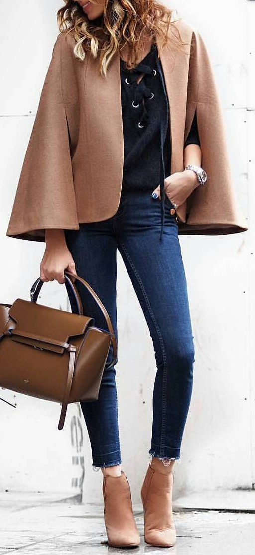 #winter #fashion /  Brown Coat / Black Laced Top / Blue Skinny Jeans / Brown Leather Booties