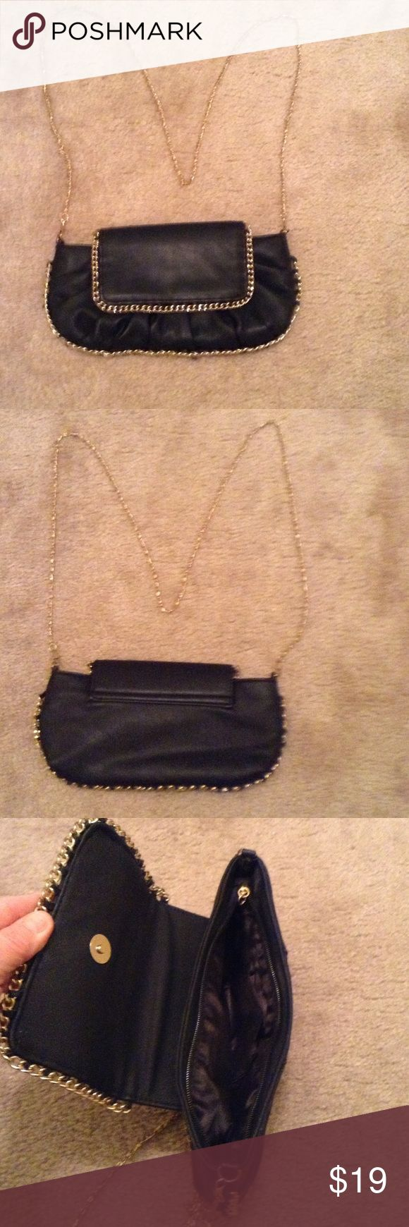 """Black evening bag🌻🌻NWOT💫💫💫 Black leather evening bag , with gold chain & decor. New from Macy's. 11"""" x 7"""". Macy's Bags Mini Bags"""