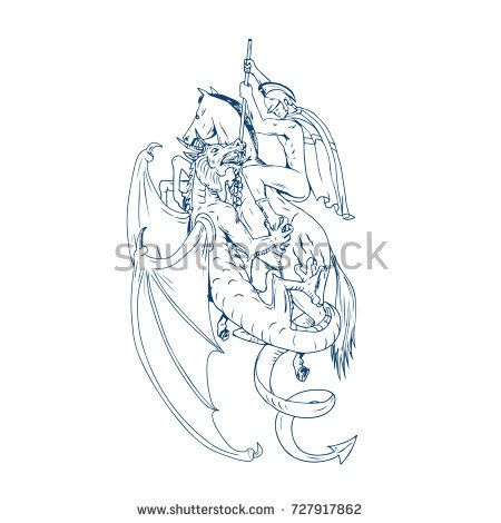Drawing sketch style illustration of St. George riding horse steed about to Slay Dragon with spear on isolated background.  #StGeorge #drawing #illustration
