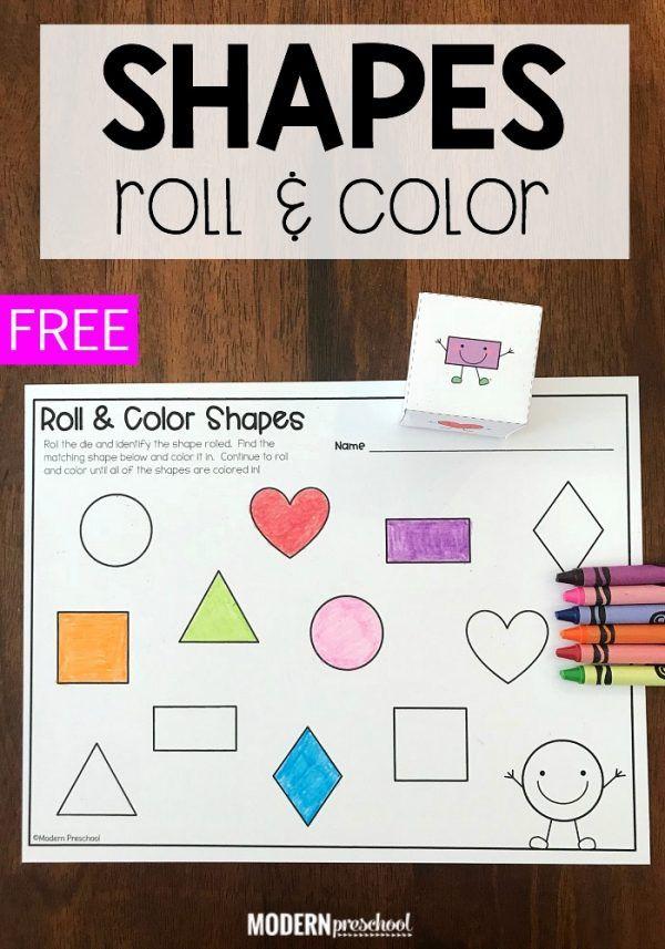 Shape Roll Color Math Activity Color Math Activities Shape Activities Preschool Shape Activities Kindergarten Preschool colors and shapes activities