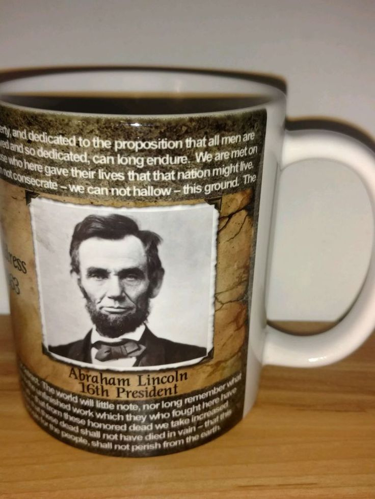 Abraham Lincoln Gettysburg Address Collectible Coffee Mug US President Pennsylva