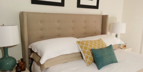 Make your own Wingback Headboard for under $150. A step-by-step guide.