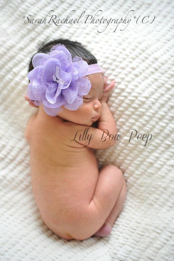 Baby HeadbandNewborn HeadbandsPurple Lavender Lace por LillyBowPeep