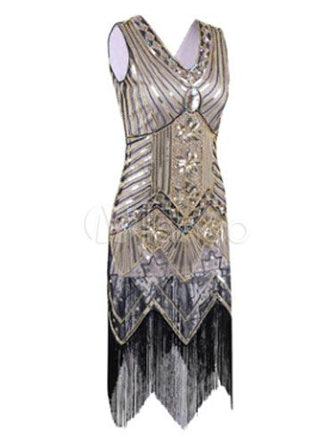 Great Gatsby Flapper Dress 1920s Vintage Costume Women's Apricot Sequined Tassels Dress-No.4