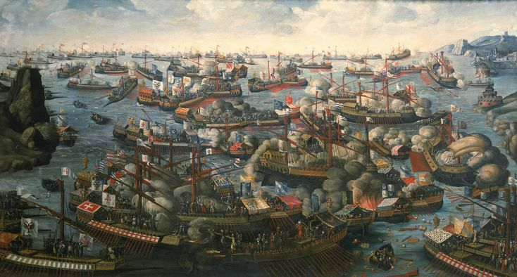 Battle of Lepanto 1571 / This was a naval engagement on 7 October 1571 in which a fleet of the Holy League, a coalition of European Catholic maritime states arranged by Pope Pius V, led by Spanish admiral Don Juan of Austria and mostly financed by the Spanish Empire, decisively defeated the fleet of the Ottoman Empire on the northern edge of the Gulf of Corinth, off western Greece.