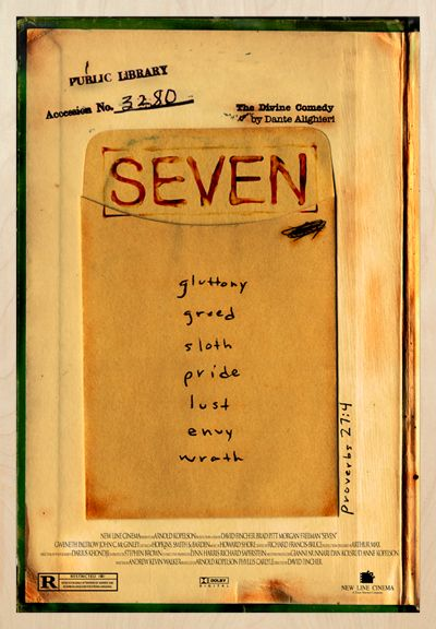 Se7en, 1995 (dir. David Fincher) - Library book with the seven deadly sins. The Divine Comedy by Dante Alighieri