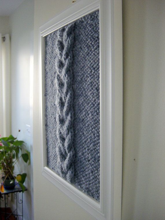 Great idea for my knitting room.  Double Cable Framed Knit Panel Fiber Art Wall by PrettySneakyHome, $115.00