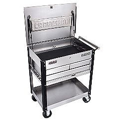 Bar Cart  http://ins.sears.com/craftsman-3-drawer-ball-bearing-griplatch-reg-utility-cart-stainless/p-00959758000P#