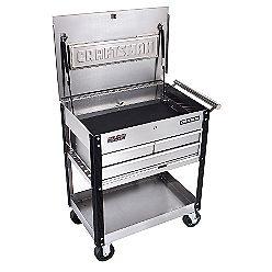 Bar Cart  http://ins.sears.com/craftsman-3-drawer-ball-bearing-griplatch-reg-utility-cart-stainless/p-00959758000P#
