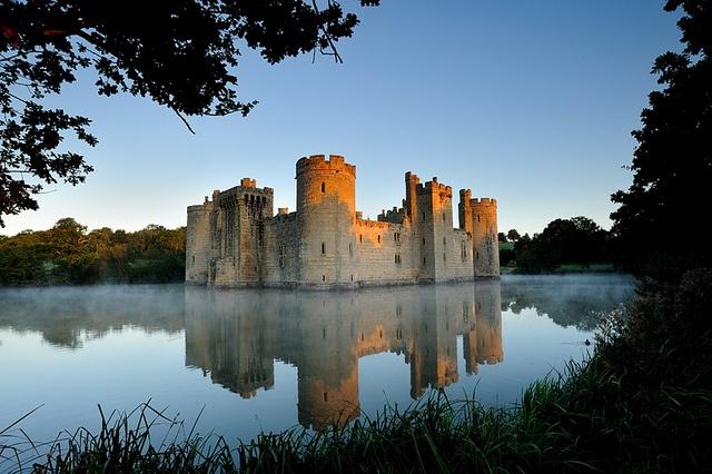 Bodiam Castle, Robertsbridge, East Sussex, England. How whimsical.