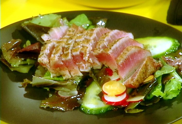 Seared Ahi Tuna and Salad of Mixed Greens with Wasabi Vinaigrette...this is what's for dinner...delicious!