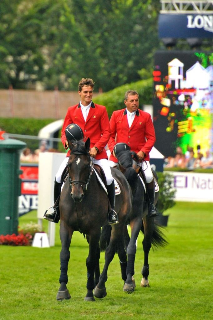 The adorable, Ludo Phillppaerts and his dad, Oliver Phillppaerts smile for adoring crowds at the Dublin Horse Show... the final leg of the FEI Nations Cup.