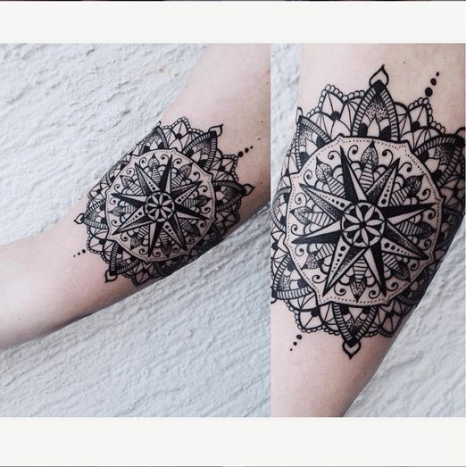 Mandala + Compass = this beautiful tattoo. #InkedMag #inked #tattoo #tattoos #mandala #compass #nautical