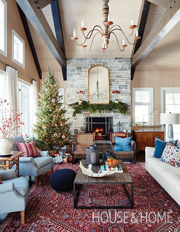 A Magical Christmas Cottage By Sarah Richardson Design Christmas Living Rooms Rugs In Living Room Red Rug Living Room #persian #rug #in #living #room