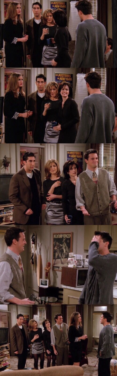 """Friends Season 2  Brooke Shields character is Erica  Erica, """"Is this true?""""  Rachel, """"Yes it is, he lied and tried to sleep with me!"""" And throws the cup of in water in his face.  Monica, """"We were suppose to run away together and we didn't!"""" Also throws cup of water in his face.  Chandler, """"You left the toilet seat up, you bastard!"""" And so does Chandler"""