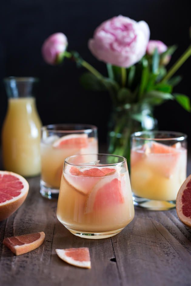 Bourbon Grapefruit Cocktail has some sweet, some tart, and a little bubbly. Perfection!