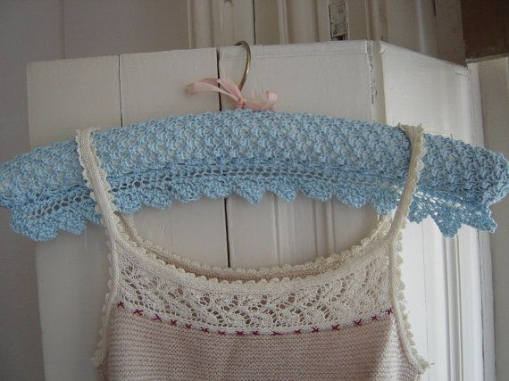 These pretty vintage-style coathanger covers are knitted lengthways in a simple lacey, textured stitch. The optional lace edging is knitted
