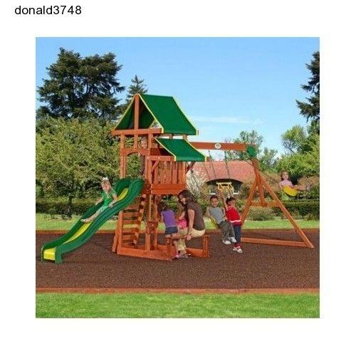 Set Wooden Cedar Outdoor Swing Backyard Kids Slide Playset Playground Play Swin