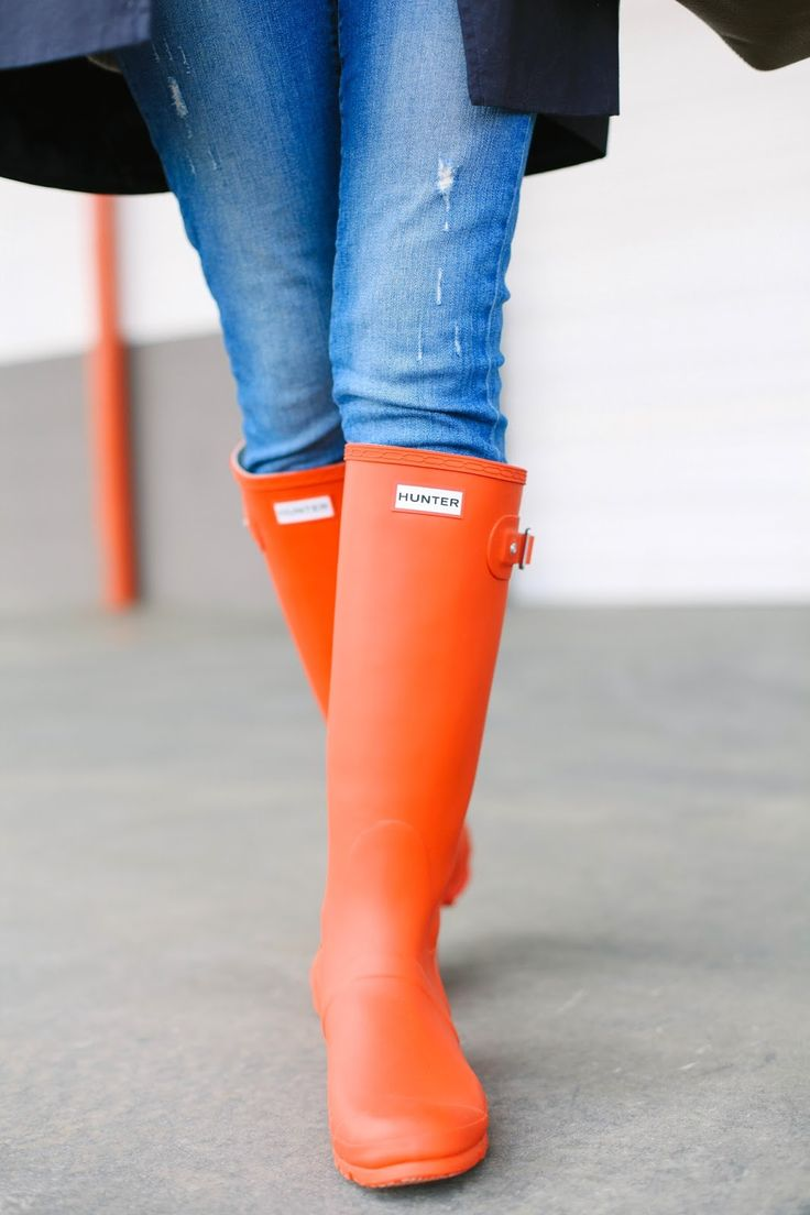 Orange Hunter Boots. The boot that is needed in everyone's wardrobe. Orange classic color, classic boot, timeless fashion.