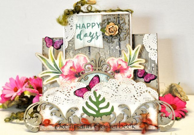 A step card by Kelly-ann Oosterbeek made using the Island Escape Collection from Kaisercraft and Imaginarium Designs Chipboard. www.kellyanno.com