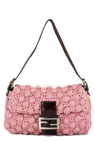 FENDI Light Pink Popcorn Crochet Logo Flap Baguette Shoulder Handbag EVHB