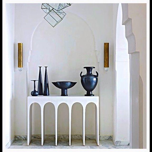 "Interesting console table design....Designer Sparks Interiors (@ds_interiors) on Instagram: ""Niche vignette design set in Moroccan architecture. By designer Herve Van Der Straten…"""