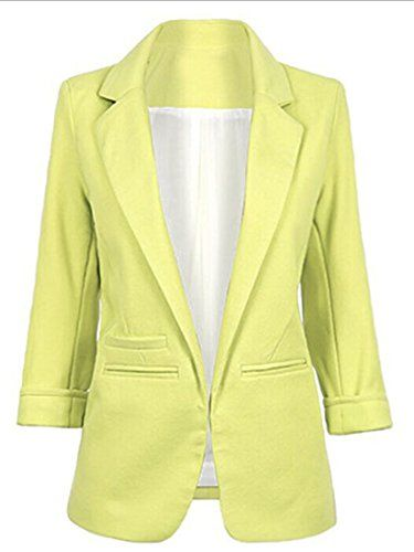 CFD Women's Fashion Folding Sleeve Stand Colar Office Blazer Light yellow US-M