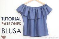 Tutoriales de costura: blusa sin hombros denim