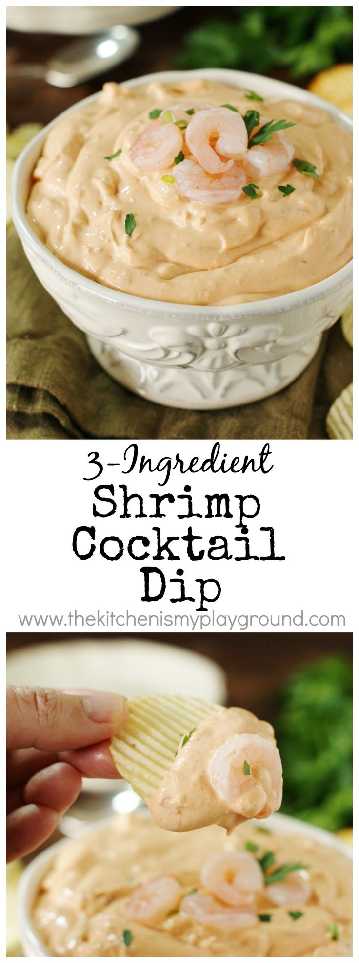 3-Ingredient Shrimp Cocktail Dip ~ a simple & easy dip loaded with shrimp in every bite!  A party and game day favorite.   www.thekitchenismyplayground.com